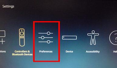 FierTVの設定画面2 英語表示