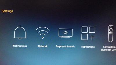 FierTVの設定画面 英語表示